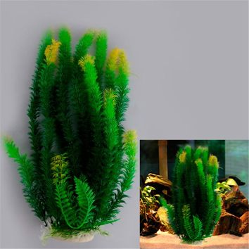 Beautiful Green Yellow Plastic Water Plant for Aquarium Fish Tank Ornament Decoration 13x7x47cm