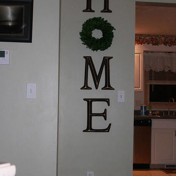 Home Letters, Home Letter Sign, Home Letters with Wreath as O, Farmhouse Home Sign, Home Decor Decorative Letters
