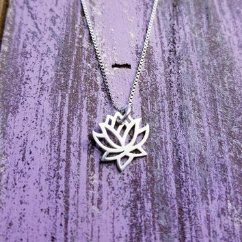 Sterling Silver Lotus Flower Necklace