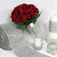 Silver Wedding Bridal Bouquet Wrap Ribbon 1 Roll Sparkle Diamond Mesh Wrap  (Color: Silver) [7982892679]
