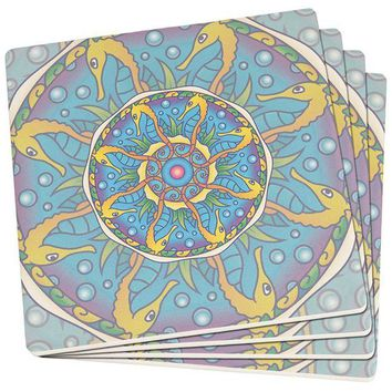 DCCKU3R Mandala Trippy Stained Glass Seahorse Set of 4 Square SandsTone Art Coasters