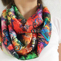 Printed Satin Infinity Scarf, Eternity Scarf, Neck Wrap, Nursing Cover, Snood, Loop Scarf, Winter Wear, Fashion Accessory, Teen Gift Ideas