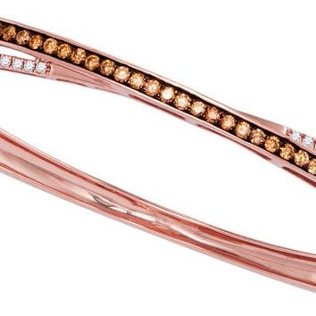 14kt Rose Gold Womens Round Cognac-brown Colored Diamond Crossover Bangle Bracelet 1.00 Cttw