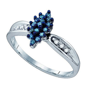 Blue Diamond Cluster Ring in 10k White Gold 0.18 ctw