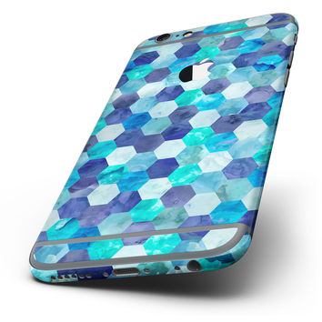 The Blue Watercolor Hexagon Pattern Six-Piece Skin Kit for the iPhone 6/6s or 6/6s Plus