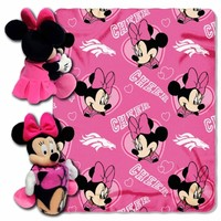 "Denver Broncos Pink 40"" x 50"" Minnie Mouse Uniform Hugger & Plush Blanket"
