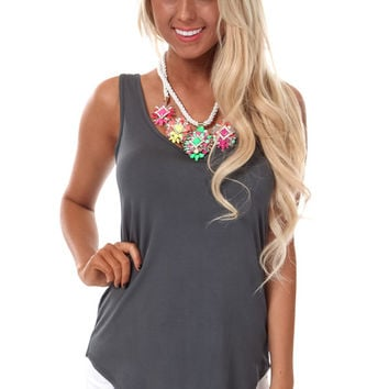 Charcoal Loose Scoop Neck Tank Top