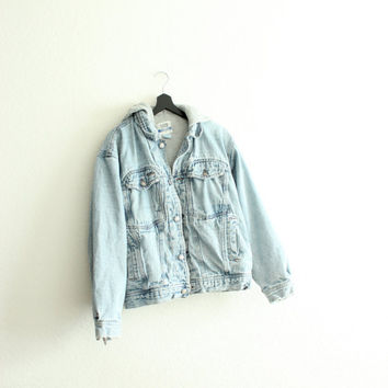 90s grunge hooded jean jacket m/l