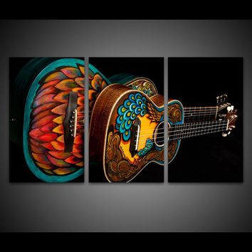 HD Printed 3 Pcs Piece Canvas Art Music Instrument Vintage Guitar Wall Pictures