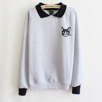 Women Lapel Neck Pullover Sweatshirt Cat Printed Loose Blouse Coat