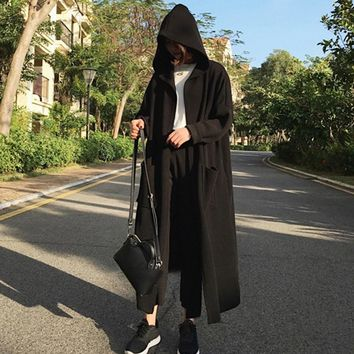 New Arrirval 2017 Women Coats Fashion Long Sleeve Hooded Trench Ladies Solid Casual Loose Cardigan Vintage Long Outerwear
