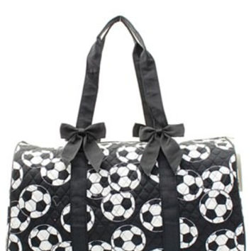 Soccer Print Quilted Duffel Bag