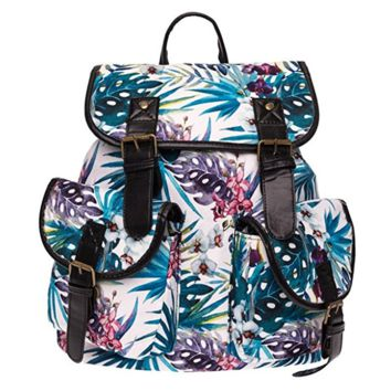 Creative Women's Canvas Palm Tree Backpack Travel Bag College School Bag Daypack