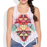 Tribal Print Tank Top with Stone Accents