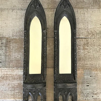 Mirror 2 Wall Mirrors Sconce Mirrors Ornate  Mirrors Gothic Mirrors Black Mirrors with Shelf Mirror Grouping Hanging Mirrors