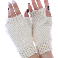 Ivory Knitted Fingerless Hand Warmers