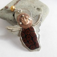 Empathy Angel of Sterling, Bronze, and polymer clay talisman amulet