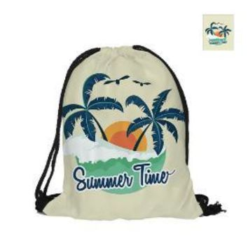 School Backpack trendy For Summer Time Drawstring Backpack Double Sided Printing Polyester For Travel And School Hello Summer Enjoy The Little Things AT_54_4
