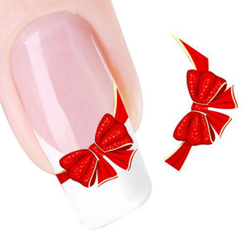 2016 new fashion Stickers & Decals Red Bows Design Nail Tip Art Water Transfers Decal Sticker