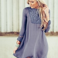 Lace High Neck Shift Dress