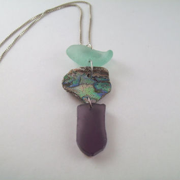 Beautiful Aqua and Purple Sea Glass with Abalone Shell on Silver