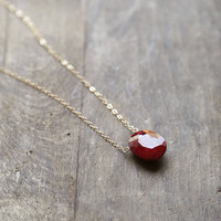 Ruby Pendant, Red Ruby Stone Necklace, July Birthstone Jewelry, Ruby and Gold Necklace