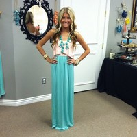 Pink Ruffle Top and Mint Maxi Dress
