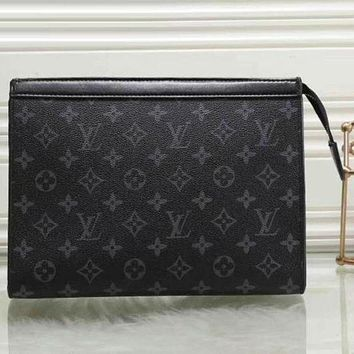 "LV ""Louis Vuitton"" Popular Unisex Logo Print Leather Zipper Wallet Purse Handbag Black I"