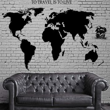 Decal World Map Ship Yacht Waves Quotes To Travel Is To Live Vinyl  Unique Gift (z2835)