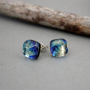 Earrings Sterling Silver - Gift Ideas For Mom - Earrings For Women - Mothers Day Gift Ideas - Artisan Earrings - Dichroic Glass Earrings