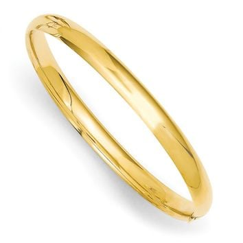 14kt Yellow Gold Sleek and Glossy 5mm Wide Baby Bangle Bracelet