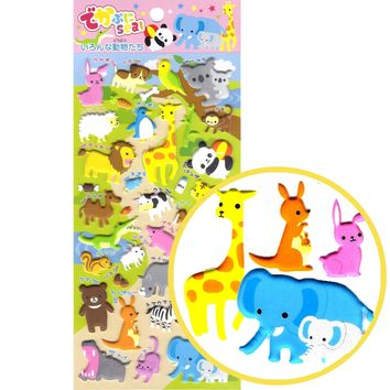 Mixed Kawaii Animal Themed Elephant Llamma Giraffe Koala Stickers for Scrapbooking