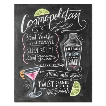 Cosmopolitan Cocktail Recipe - Print & Canvas