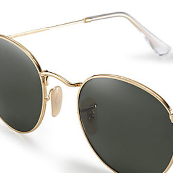 4549561ba1 Ray-Ban RB3447 001 50-21 ROUND CLASSIC Gold sunglasses