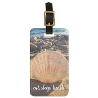 """Eat Sleep Beach"" quote sandy beach seashell photo Bag Tag"
