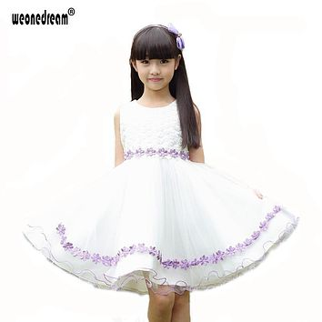 Flower Girl Dress For Weddings 2017 Pageant Ball Gowns White Lace Autumn Long Sleeve First Communion Dresses For Girls