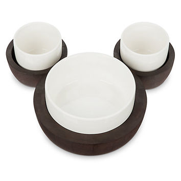 Disney Store Mickey Mouse Fall Fun 3-Bowl Serving Set with Tray