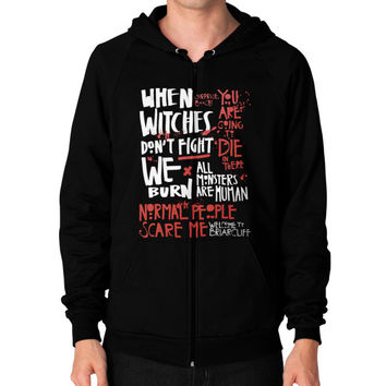 Apparels horror Zip Hoodie (on man)