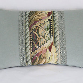 "Aqua Tapestry Border Pillow,  Robins Egg Chenille Velvet, Passementerie Trim, 12x20"" Lumbar Rectangle, Vintage Look, Ready To Ship"