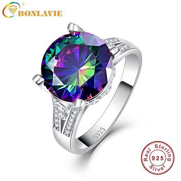 BONLAVIE Multicolor Rainbow Topaz Ring Women Sterling-Silver-Jewelry 925 Sterling Silver Wedding Bands with Gift Ring Box