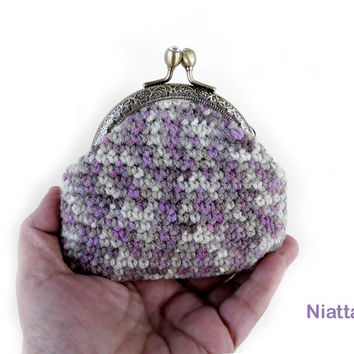 Framed Coin Purse Change Purse Kiss Clasp Antiqued Bronze Rhinestone Money Pouch Crochet Niatta