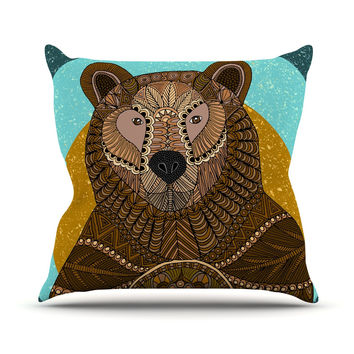 "Art Love Passion ""Bear in Grass"" Brown Blue Throw Pillow"