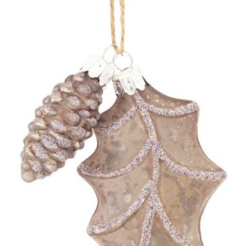 """4"""" Speckled Pewter Gray Country Rustic Style Leaf and Pinecone Glass Christmas Ornament"""