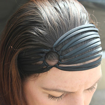 wide black headband, black headband, Flapper Headband, black