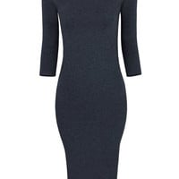 2016 Autumn Three-quarter Sleeve Knitted  Midi Pencil Dress