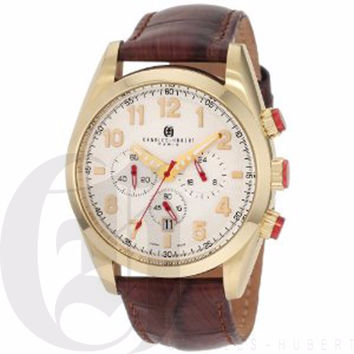 Charles Hubert Men's Gold-Plated Stainless Steel White Dial Chronograph Watch #3895-G