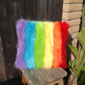 Rainbow Pillow, Faux Fur Rainbow Pillow, rainbow throw pillow, rainbow, LGBT Pride Pillow, rainbow decor, Rainbow pride, Rainbow  cushion