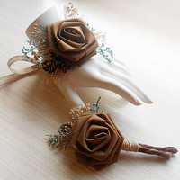 Chocolate Brown Wrist Corsage and/or Boutonniere, Rustic Country Wedding, Corsage & Boutonniere. Made to Order.