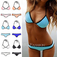 New Womens Sexy NEOPRENE BIKINI Push Up Swimsuit Triangle Superfly Swimwear