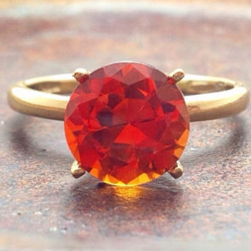 Orange Sapphire and Gold Ring, Engagement Ring, Promise Ring, Wedding Ring, Free Shipping
